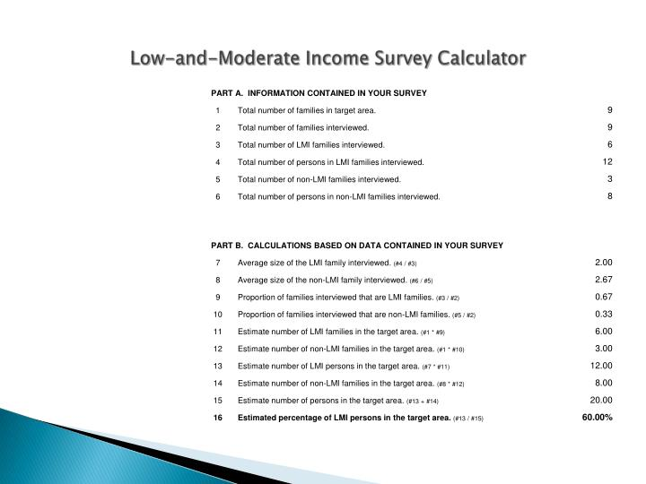 Low-and-Moderate Income Survey Calculator