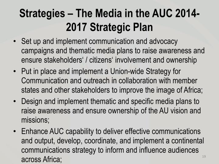 Strategies – The Media in the AUC 2014-2017 Strategic Plan