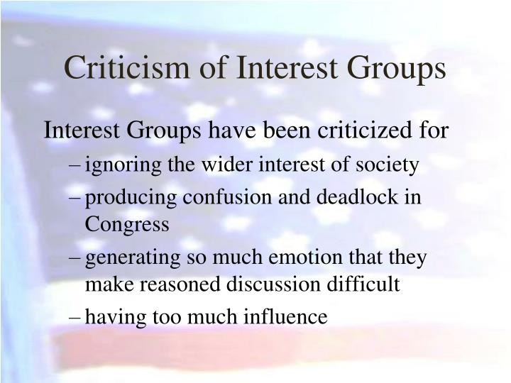 Criticism of Interest Groups