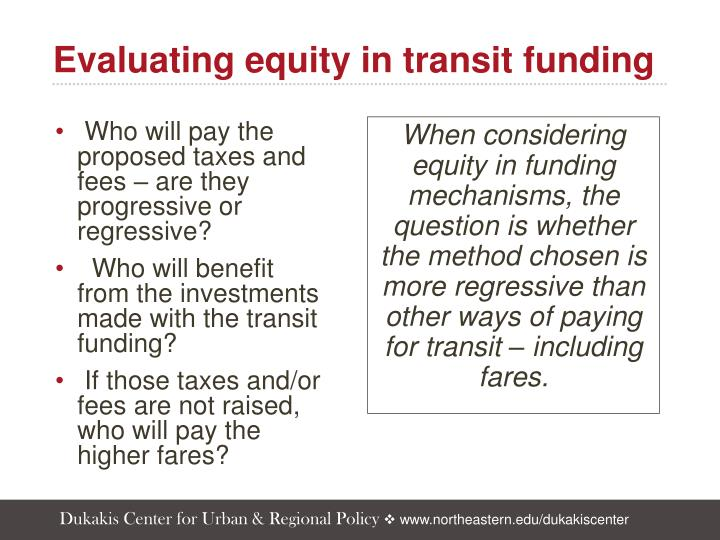Evaluating equity in transit funding