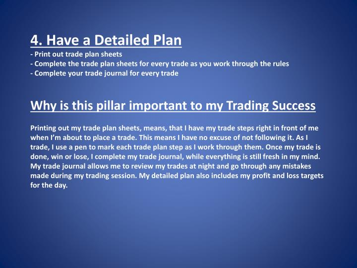 4. Have a Detailed Plan
