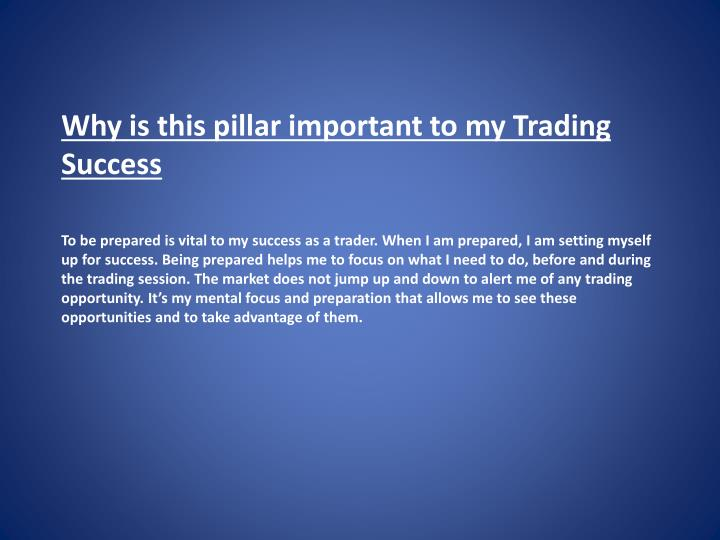 Why is this pillar important to my Trading Success