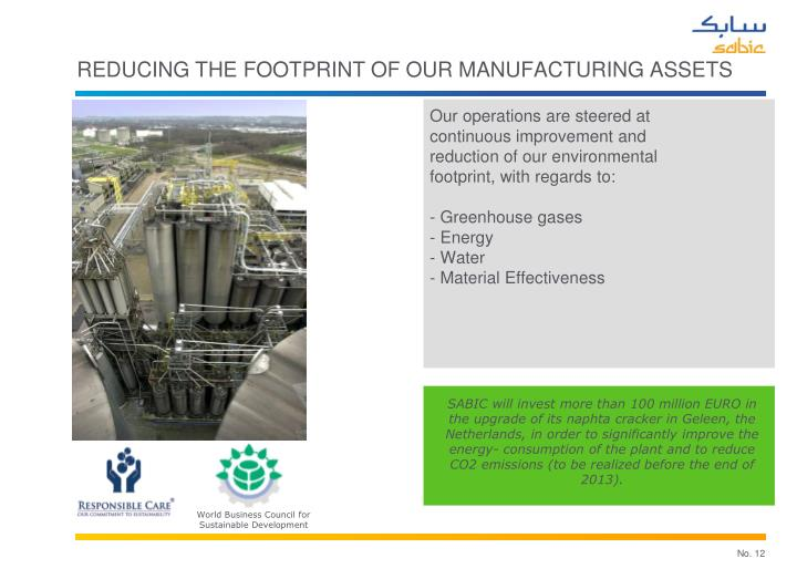 REDUCING THE FOOTPRINT OF OUR MANUFACTURING ASSETS