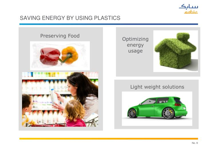 Saving energy by using plastics