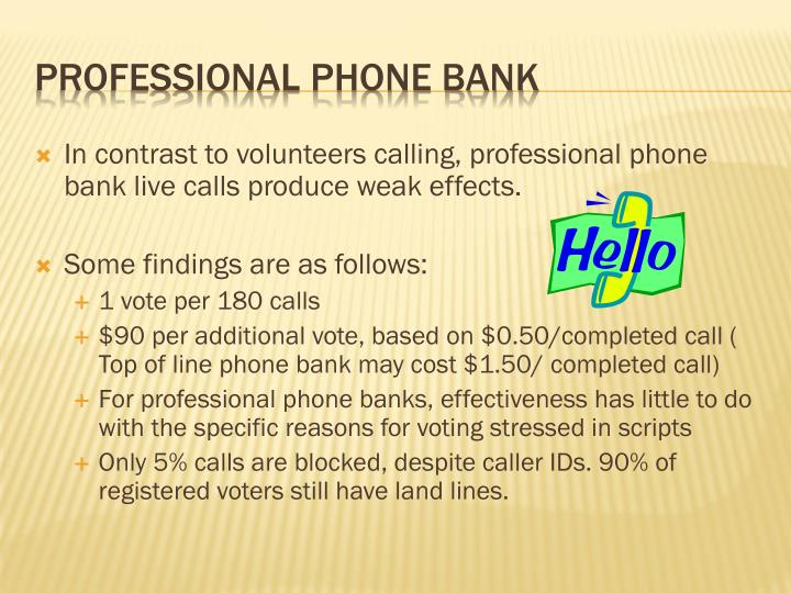 In contrast to volunteers calling, professional phone bank live calls produce weak effects.