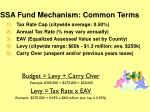 ssa fund mechanism common terms