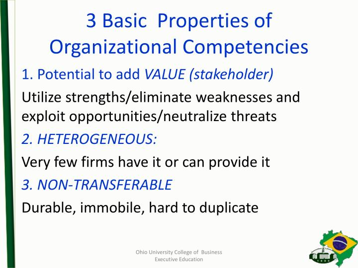 3 Basic  Properties of Organizational Competencies