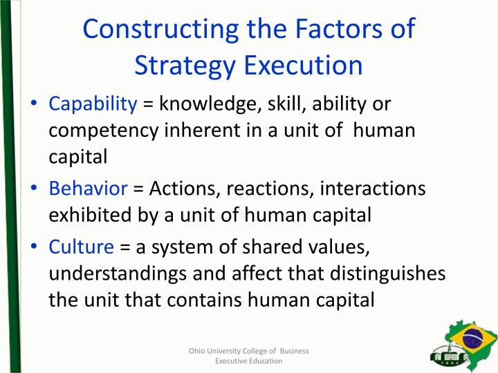 Constructing the Factors of Strategy Execution