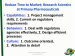 reduce time to market research scientist at primary pharmaceuticals