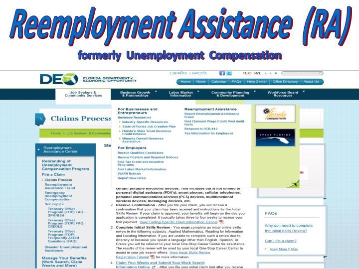 Reemployment Assistance  (RA)