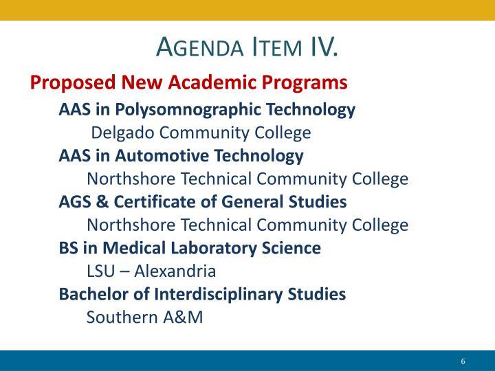 Agenda Item IV.