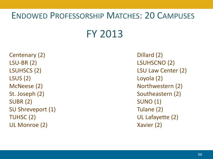 Endowed Professorship Matches: 20 Campuses