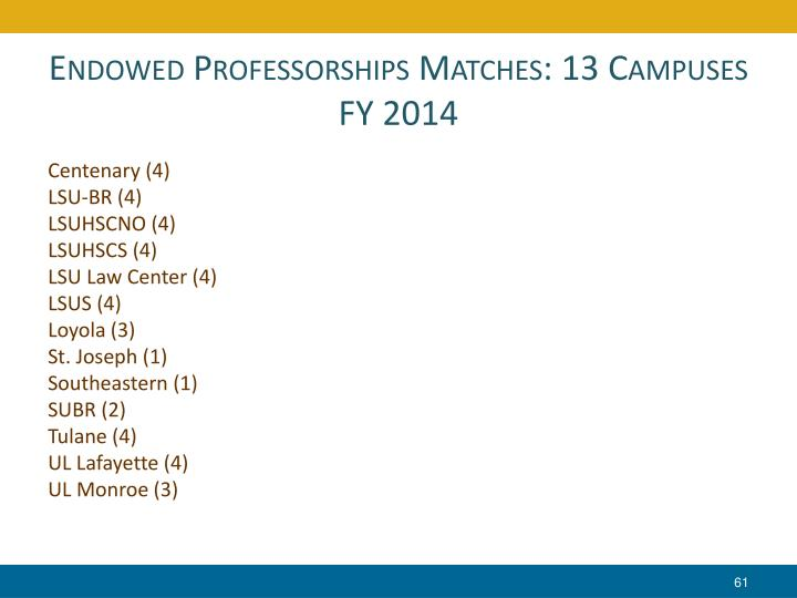 Endowed Professorships Matches: 13 Campuses
