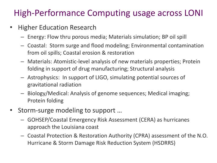 High-Performance Computing usage across LONI