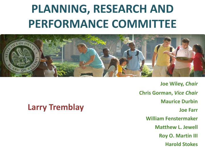PLANNING, RESEARCH AND