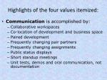 highlights of the four values itemized1