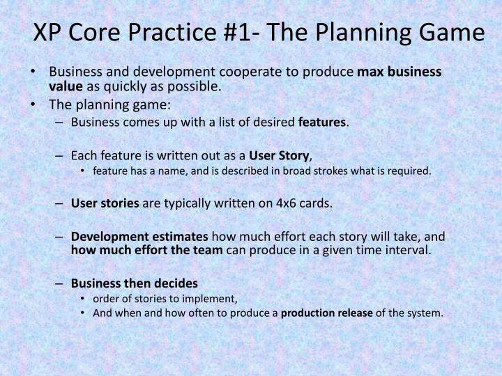 XP Core Practice #1- The Planning Game