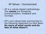 xp values summarized