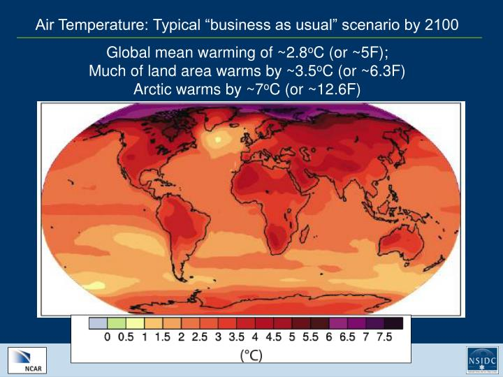 "Air Temperature: Typical ""business as usual"" scenario by 2100"