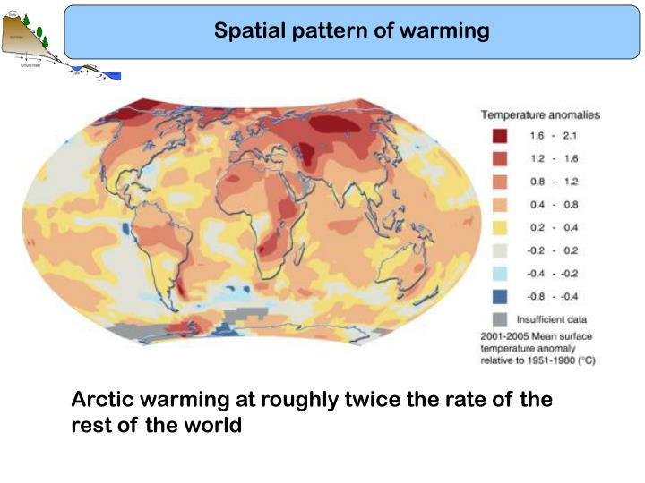 Spatial pattern of warming