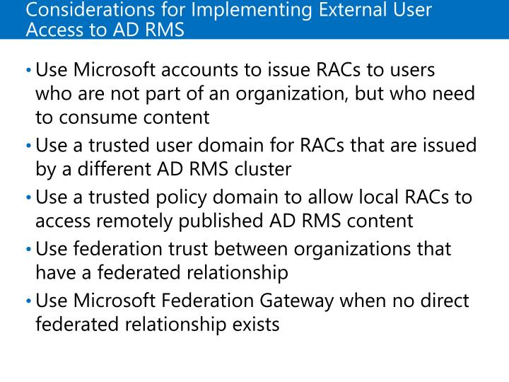 Considerations for Implementing External User Access to ADRMS