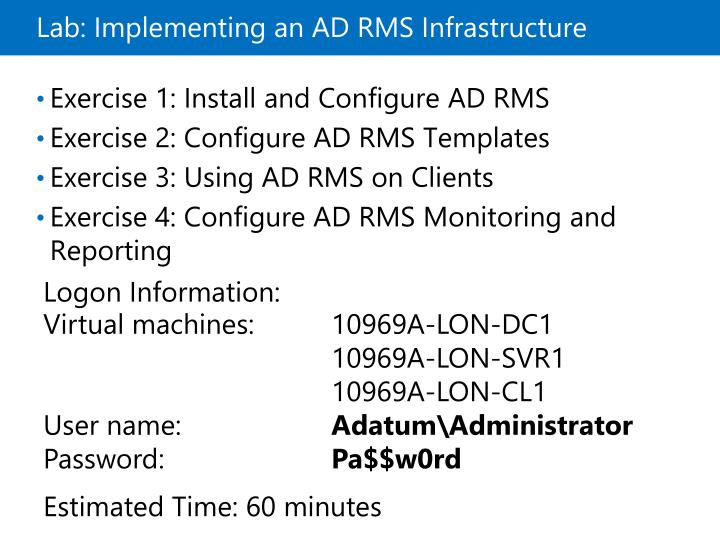 Lab: Implementing an ADRMS Infrastructure