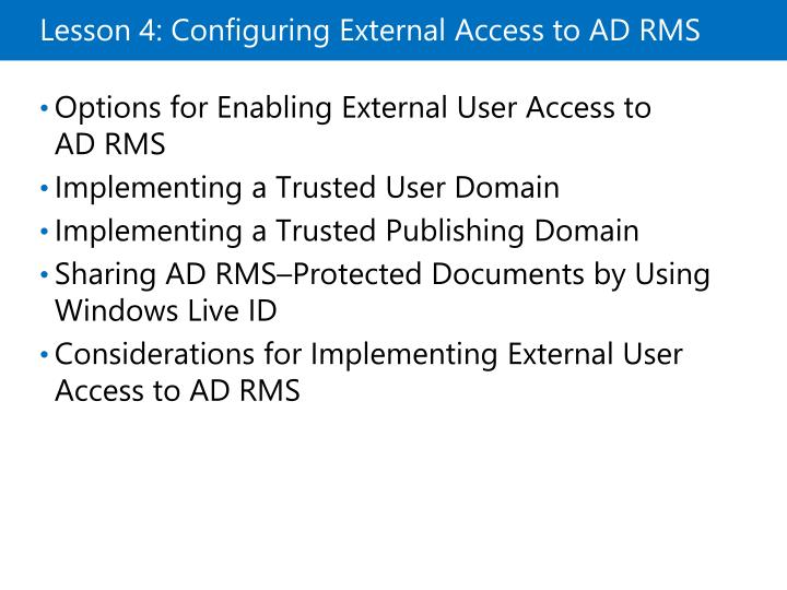 Lesson 4: Configuring External Access to ADRMS