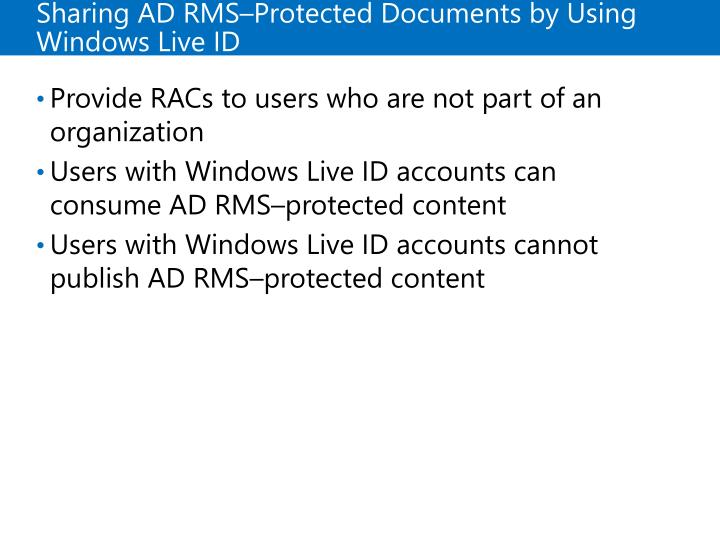 Sharing ADRMS–Protected Documents by Using Windows Live ID