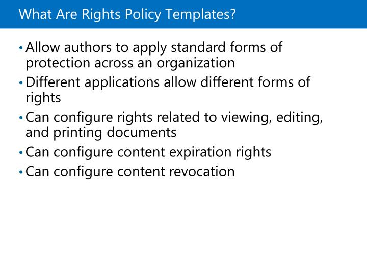 What Are Rights Policy Templates?