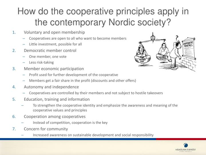 How do the cooperative principles apply in the contemporary Nordic society?