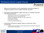 the business case for supplier diversity