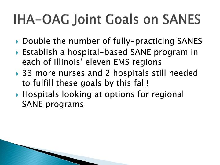 Iha oag joint goals on sanes