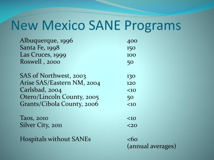 New Mexico SANE Programs