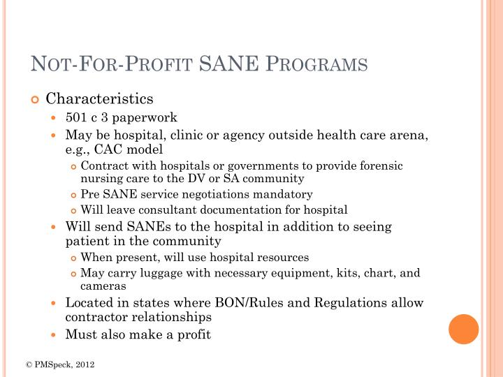 Not-For-Profit SANE Programs