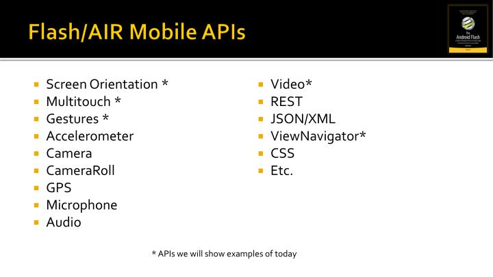 Flash/AIR Mobile APIs