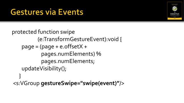 Gestures via Events