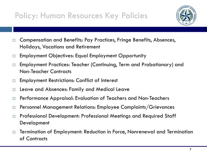 Policy: Human Resources Key Policies