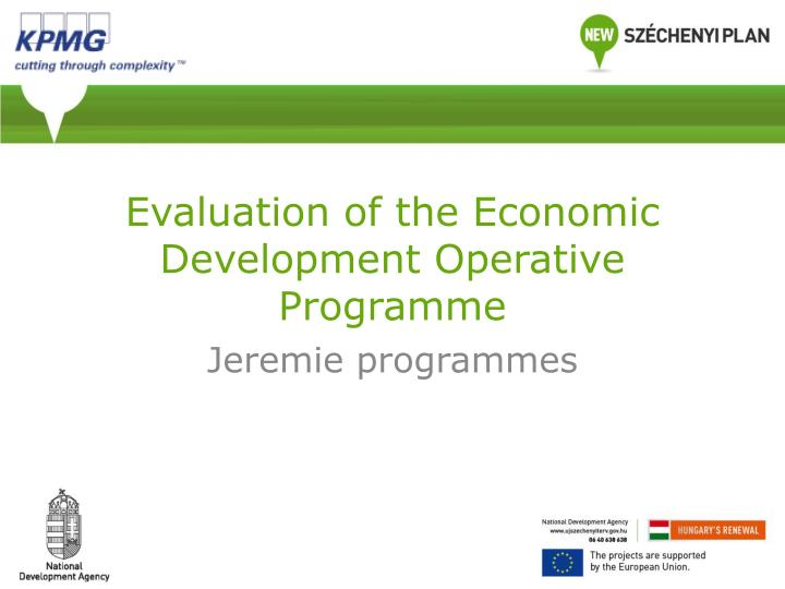 Evaluation of the economic development operative programme
