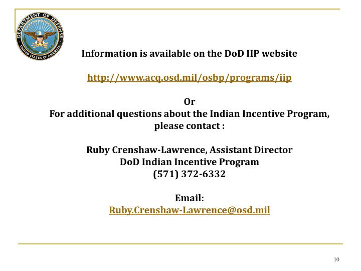 Information is available on the DoD IIP website