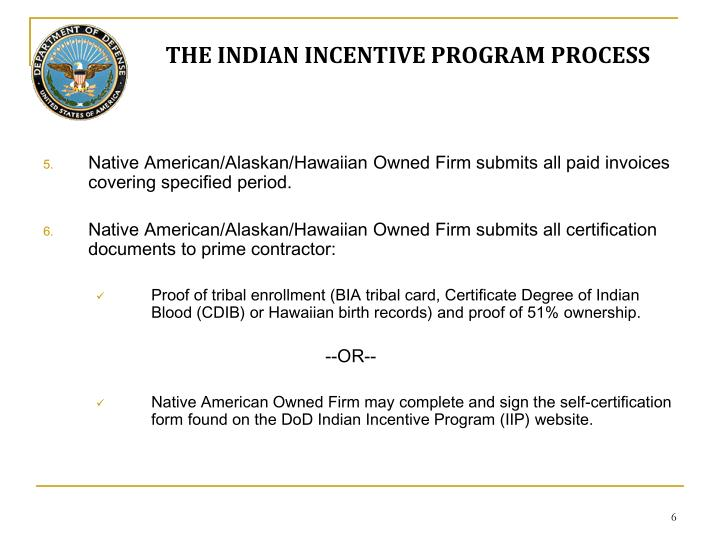 THE INDIAN INCENTIVE PROGRAM PROCESS