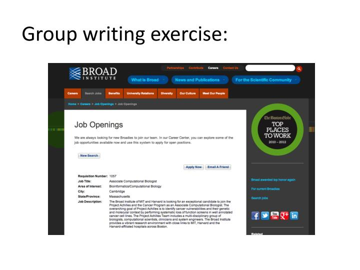 Group writing exercise:
