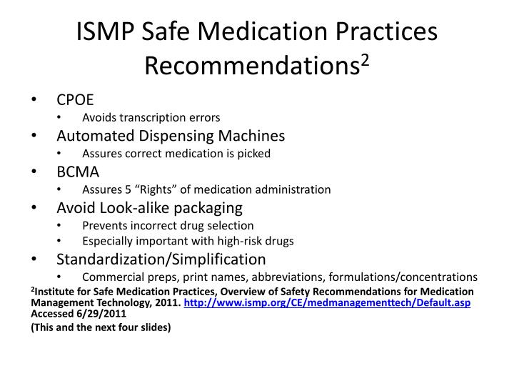 ISMP Safe Medication Practices Recommendations