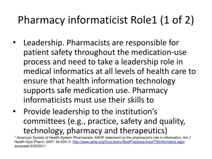 Pharmacy informaticist Role1 (1 of 2)