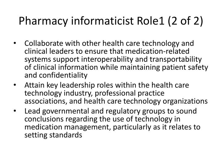 Pharmacy informaticist Role1 (2 of 2)
