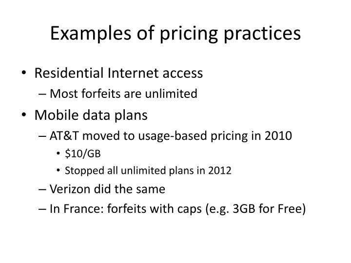 Examples of pricing practices