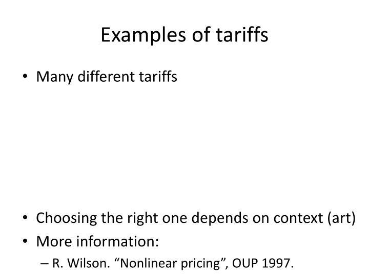 Examples of tariffs