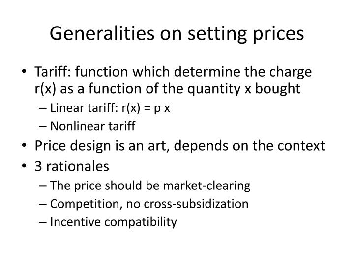 Generalities on setting prices