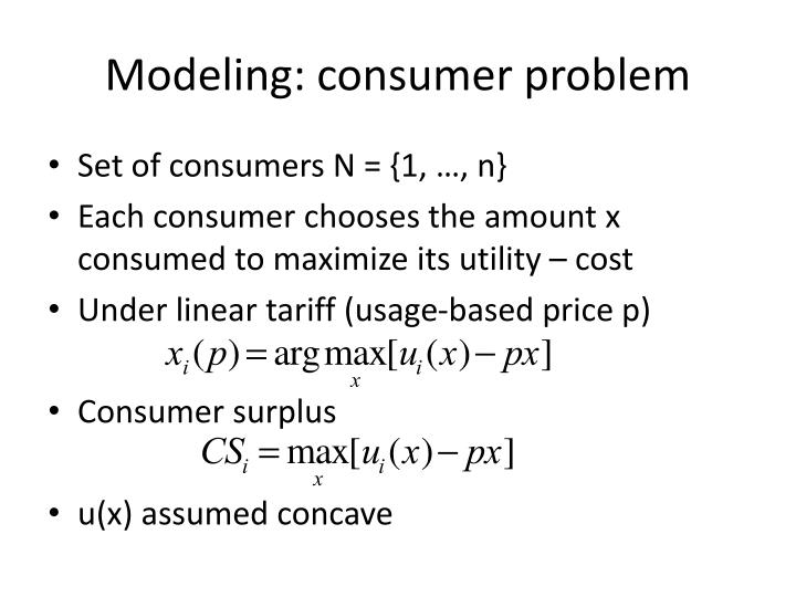 Modeling: consumer problem