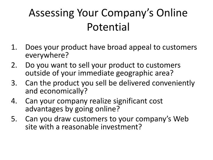 Assessing Your Company's Online Potential