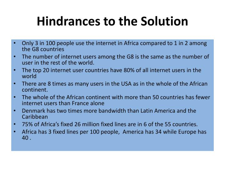 Hindrances to the Solution